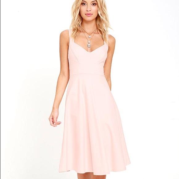 2d6e3dcceaff Lulu's Dresses | Lulus Uptown Twirl Blush Pink Fit Flare Dress ...